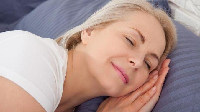 middle woman sleep close her eyes smile sleep