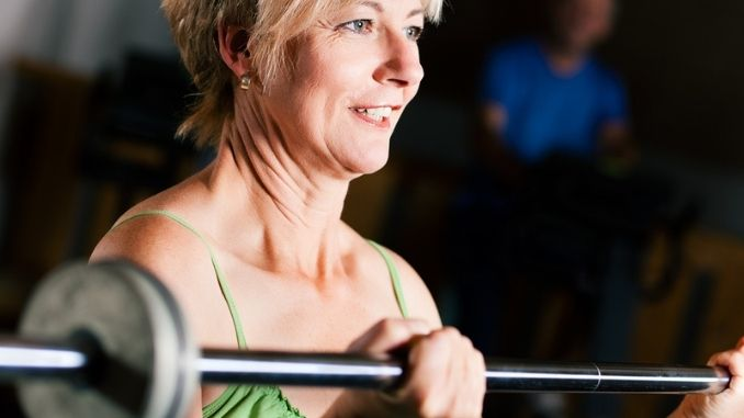 Senior Woman with barbell