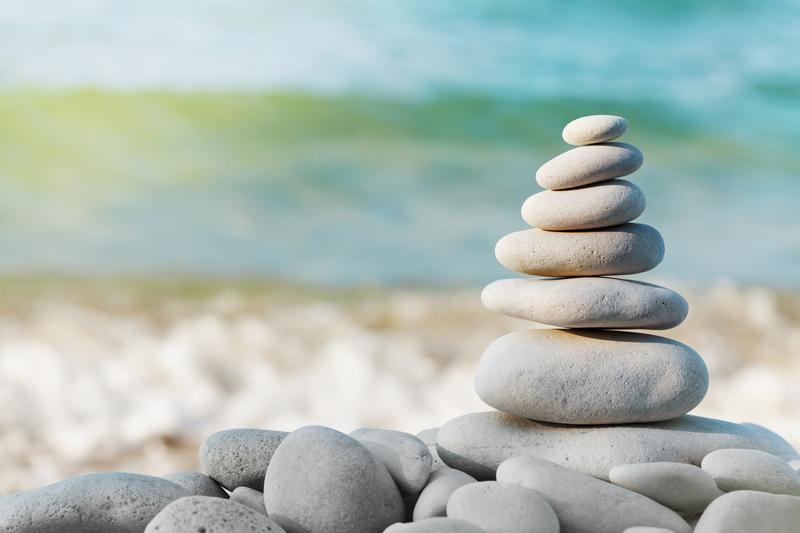 Stack of white pebbles stone